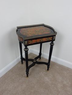 Antique French Brass mounted Boulle Tortoiseshell Ebonized Table 19th CT. #French
