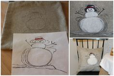 Pottery Barn Inspired Snowman Pillow - Knock Off Holiday Tour
