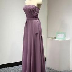 Purple Long A-Line Chiffon Bridesmaid Dress Featuring Ruched Sweetheart Bodice