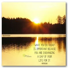 What you do today is important because you are exchanging a day of your life for it..
