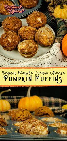 Vegan pumpkin muffins with cream cheese recipe. Healthy vegan recipe for pumpkin muffins. The best alternative for pumpkin recipes. Oil free and vegan. Topped with vegan cream cheese with maple! Pumpkin Cheesecake Muffins, Pumpkin Cream Cheese Muffins, Healthy Cheesecake, Vegan Pumpkin, Healthy Pumpkin, Pumpkin Recipes, Pumpkin Spice, Vegan Sweets, Vegan Desserts