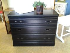 Black 3 Drawer Dresser, purchased and customized here at the shop