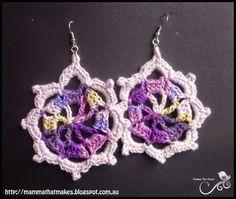 Mamma That Makes: Iris Earrings - Free Crochet Pattern