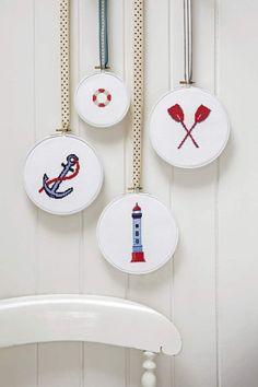 NAUTICAL - cross stitch patterns, DIY embroidery wall hangings,needlepoint,New England,Hampton,beach,maritme,navy,sea,Anette Eriksson