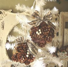 Christmas Pine cone ornaments with sheet music fabric ribbon large natural home decor ornaments cottage chic christmas decor.via Etsy.