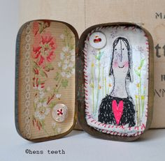 hens teeth : Vintage tin artwork, mixed media, assemblage