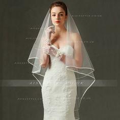 Simple Ribbon Hemline Long Wedding Veil