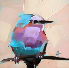 Lavender Breasted Roller Bird Painting | angela moultons painting a day