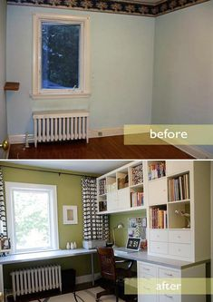 I love that the curtains run the length of the wall.  Fantastic office space.  What a difference paint makes.
