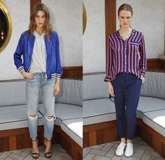 GANT Rugger 2015 Spring Summer Womens Lookbook Presentation - New York Fashion Week - Denim Jeans Destroyed Destructed Ripped Holes Bomber Jacket Stripes Blouse Button Down Shirt Pants Trousers Sneakers Lace Ups Shorts Flowers Florals Botanical Tunic Shirtdress Lace Shorts Knit Sweater Jumper Accordion Pleats Skirt Frock Ribbon Tie Up Spaghetti Noodle Strap