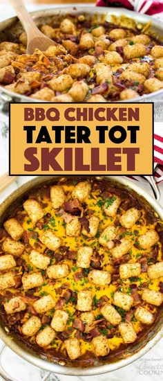A twist on a traditional Midwestern tater tot hot dish, this BBQ Chicken Tater Tot Skillet goes from stove to oven, to the table in just one pan. Tater Tot Recipes, Casserole Recipes, Bacon Recipes, Bbq Chicken, Chicken Recipes, Chicken Meals, Ground Beef Recipes, Easy Dinner Recipes, Bon Appetit