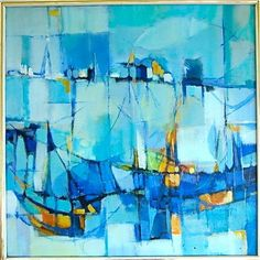 Drop Shipping 100% Handmade Mid Century Modern Abstract Cubist Painting Eames Era