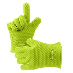 Ablest Best Versatile Heat Resistant Grill BBQ Oven Gloves, Insulated Silicone Oven Mitts For Grilling, Waterproof, Full Finger, Hand, Wrist Protection - Protect your hands from extremely cold or very hot temperatures!Each of our silicone 5-finger BBQ gloves comes with textured gripping surfaces to reduce the risk of accidents. Crafted with enhanced food-grade safe silicone grill gloves that endure the temprature up to 425℉, non-toxic, odor...