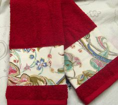 Pretty Hand Towels are hard to find for the Bedroom or Boudoir Bath Now you can have hand towels that coordinate with your favorite Bedding Collection, or a sweet accent for your Pretty Kitchen  A sweet set of Hand Towels Decorated with Designer Fabric 2~ Each Hand Towel is quality cotton from a major brand ~ Each Towel is bordered with Designer Fabric on one side ~ With a Lacy Skirt that covers matching Stripe Fabric  Brand new Designer Fabric - 100% Cotton | 300 THREAD COUNT Brand new Hand…