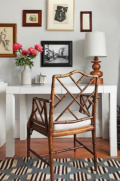MASTER BEDROOM Parsons Table with petite rattan chair instead of a bedside table ...Inspiration