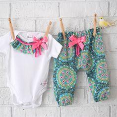 Designer Harem Pants and Onesie Set - baby, girl, toddler, pink, bodysuit