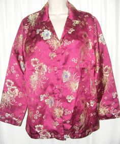 Chico's Purple Gold Floral Oriental Rayon Blend Jacket 2 M #Chicos #BasicJacket