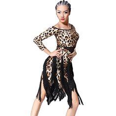 223b2bc1d Latin Dance Dress Tassel Women Tango Salsa Rumba Cha Cha Samba Tango Dance  Performance Clothes Competition Costumes Party Stage(Blue Leopard,M)