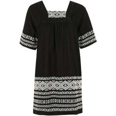 TopShop Moto Embroidered Smock Dress (€58) ❤ liked on Polyvore featuring dresses, boho summer dresses, summer dresses, embroidery dress, embroidered dress and square neckline dress
