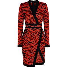 Balmain Wrap-effect jacquard-knit dress ($2,630) ❤ liked on Polyvore featuring dresses, balmain, red, red dress, knit dress, wrap cocktail dress, balmain dress and zip dress