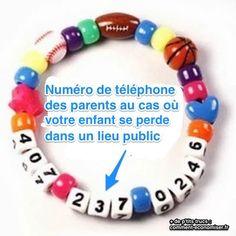 bracelet pour enfant perdu où figure le numéro des parents