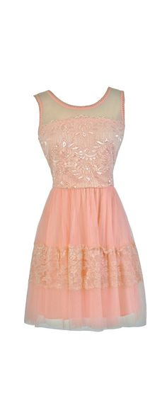 Tulle and Lace A-Line Dress in Blush www.lilyboutique.com