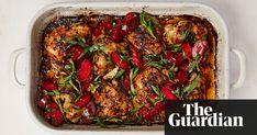 Yotam Ottolenghi's Chipotle-Roasted Chicken with Plum - Tarragon Salad. Chilli Recipes, Lentil Recipes, Gourmet Recipes, Italian Recipes, Mexican Food Recipes, Vegetarian Recipes, Cooking Recipes, French Recipes, Vegetarian Xmas