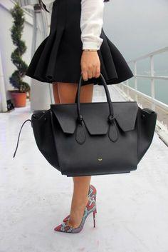 celine bag original price - Geometric Contrast Collar Blouse and Snake print skirt ...