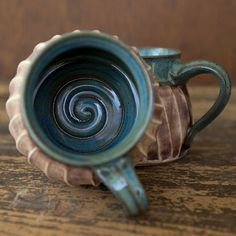 Nautical Coffee Mug-Rustic Ceramics-Spiral Altered by juliaedean