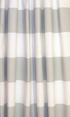 Storm Gray White Modern Horizontal Stripe Cabana Curtains ...