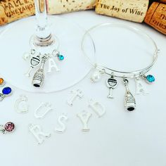 Personalize your Wine Glass Charm and/or Wine Bracelet!  Custom Orders Welcome at LasmasCreations.etsy.com