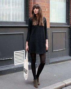 Come abbinare un vestito nero - Minidress nero e stivaletti marroni