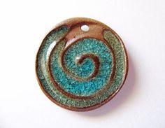 Woodland Swirl Pendant Stoneware Clay by TinasBeadMind on Etsy
