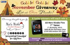 Kindle Fire - Value $169 - 6 Winners - ends 11/16