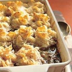 Chicken and Mushroom Pie with Phyllo Parmesan Crust