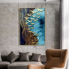 Abstract flying Birds Gold Leaf Paintings On Canvas original art black painting framed Wall Art home Decor hand painted cuadros abstractos - Abstract flying Birds Gold Leaf Painting On Canvas original art black and blue painting Wall Art hom Blue Painting, Texture Painting, Painting Frames, Painting Prints, Art Prints, Leaf Paintings, Painting Art, Painting Abstract, Emboss Painting
