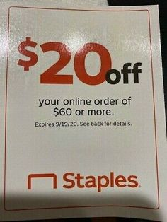Staples Coupon $20 Off Your Online Order Of $60 or More Expires 9/19/2020... 20 Off, Coupon Codes, Coupons, Coding, Coupon, Programming