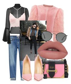 """""""Big Bird (Pink Version)"""" by naomicunsolo ❤ liked on Polyvore featuring Frame, Topshop, Charlotte Russe, Prada, Christian Louboutin, Ray-Ban, Pink and kendall"""