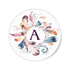 Watercolor Boho Feather Wreath Monogram Classic Round Sticker