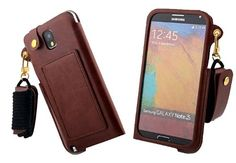 Note 4 case, Galaxy Note 4 case ,In Angel Case For Samsung Galaxy Note 4 Fashion Simple Pouch Style Cover Pure colour High Quality Leather Long Strap With Kickstand For Man For Girls -Pouch Brown In Angel