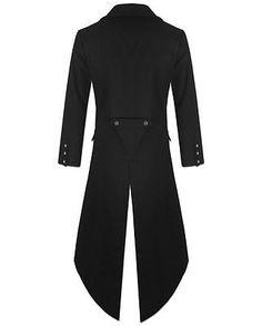 """BANNED"" Men's STEAMPUNK TAILCOAT Jacket Black Gothic Victorian Coat"