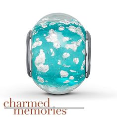 From the Charmed Memories® collection, this turquoise Murano glass charm is decorated with flecks of white. The charm is crafted in sterling silver.