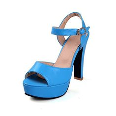 VogueZone009 Womens Solid PU HighHeels Open Toe Buckle HeeledSandals Blue 38 *** Click image for more details.
