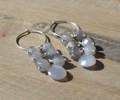 Grey Moonstone Earrings Natural Grey by StellaZigantiDesigns, $42.00