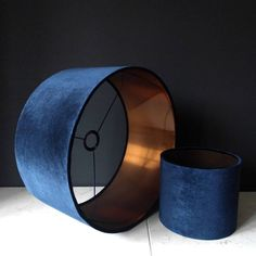 Navy And Copper Velvet Drum Lampshades. Stunning hand rolled navy velvet lampshades with brushed copper lining and navy powder coated frames. Navy Living Rooms, My Living Room, Living Room Decor, Bedroom Decor, Home Decor Furniture, Diy Home Decor, Copper Bedroom, Navy And Copper, Deco Luminaire