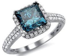 1.84ct Blue Princess Cut Diamond Engagement Ring 18k White Gold