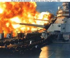 """USS New Jersey - Firing 16"""" guns - 1984"""