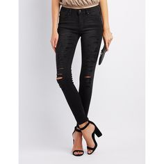 Charlotte Russe Destroyed Low-Rise Skinny Jeans ($25) ❤ liked on Polyvore featuring jeans, black, super skinny jeans, ripped jeans, super low rise skinny jeans, denim skinny jeans and distressed denim jeans