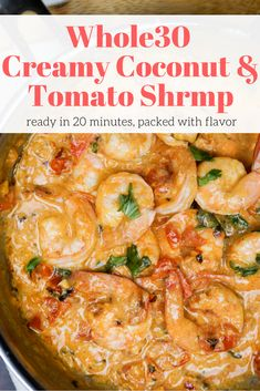 This Whole30 and Paleo friendly shrimp dish is ready in just 20 minutes and is so good! #whole30 #whole30recipes #paleo #paleodiet #whole30approved