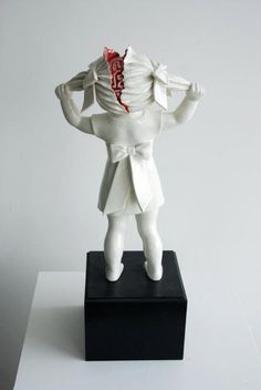 Maria Rubinke's  from Denmark(1985) small porcelain figures are reminiscent of the illogical compositions of surrealism, transforming the character of what are traditionally charming and passive objects into expressions of more taboo feelings that oscillate between desire and sadism.